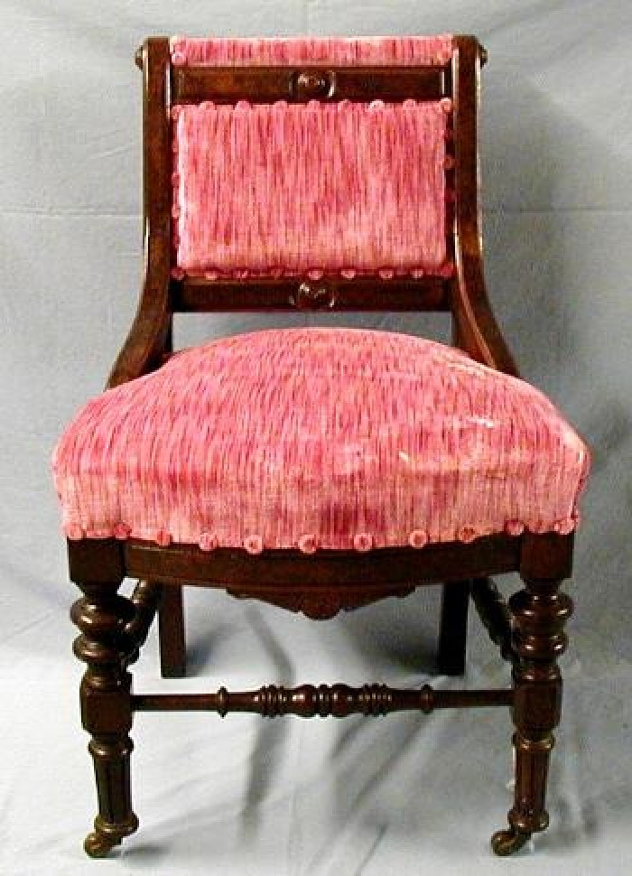[Mauve Pink Armless Dining Chair From Front]