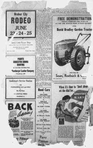 Primary view of object titled 'The Archer County News (Archer City, Tex.), Vol. 35, No. 9, Ed. 1 Thursday, February 26, 1948'.