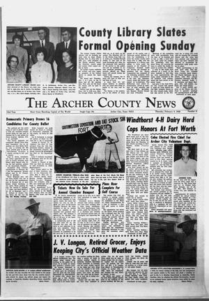 Primary view of object titled 'The Archer County News (Archer City, Tex.), Vol. 54, No. 6, Ed. 1 Thursday, February 8, 1968'.