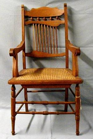 [Large Stick and ball oak chair]
