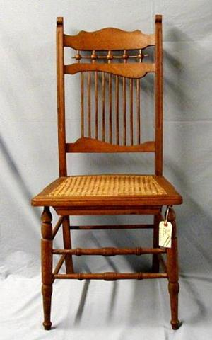 [Stick and ball armless oak chair]