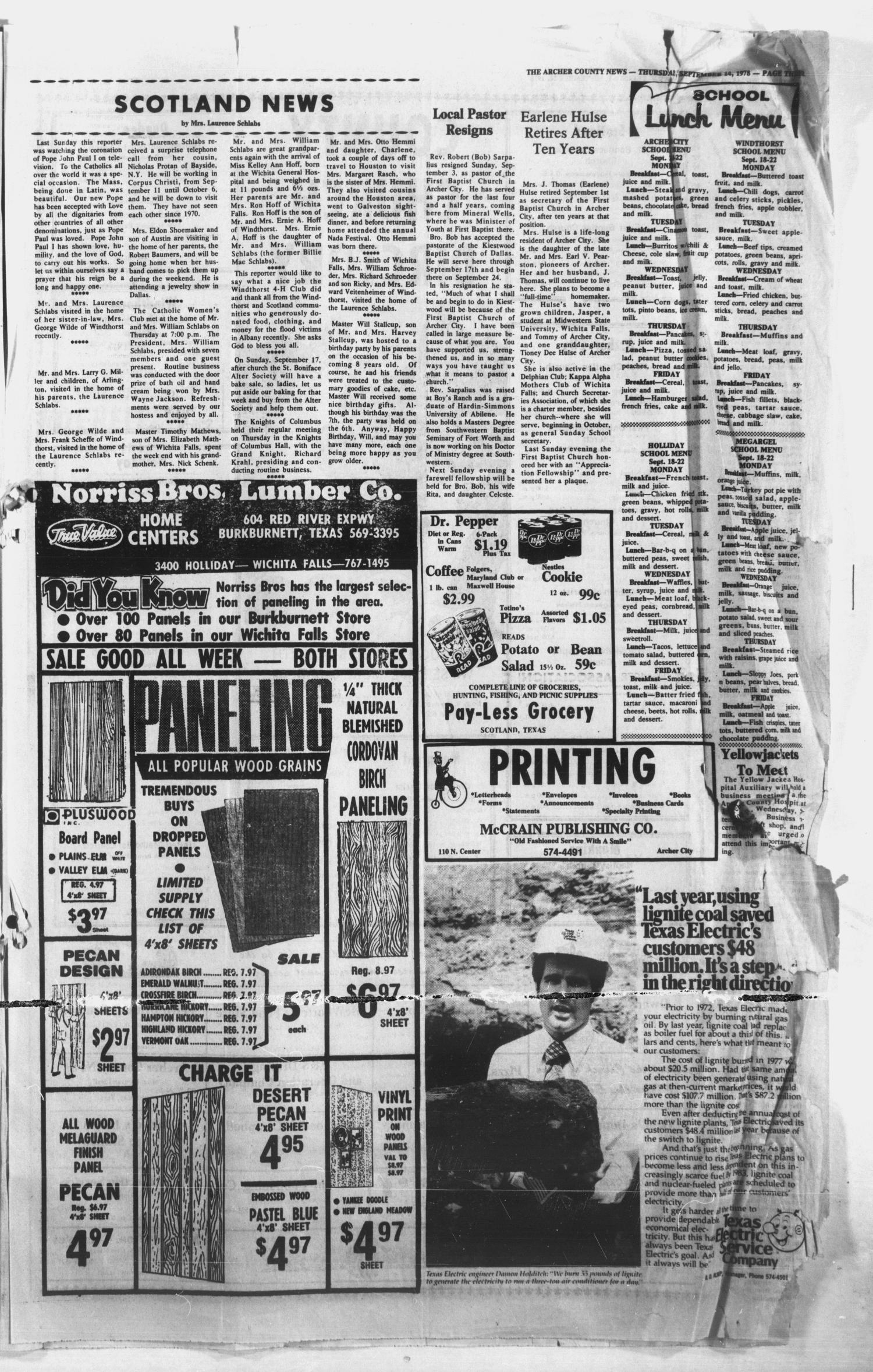 The Archer County News (Archer City, Tex.), Vol. 61, No. 37, Ed. 1 Thursday, September 14, 1978                                                                                                      [Sequence #]: 2 of 11