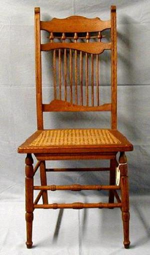 Primary view of [Stick and ball armless oak chair, slightly faded finish]