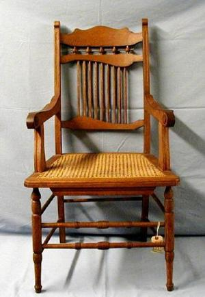 Primary view of object titled '[Stick and ball oak chair with arms]'.