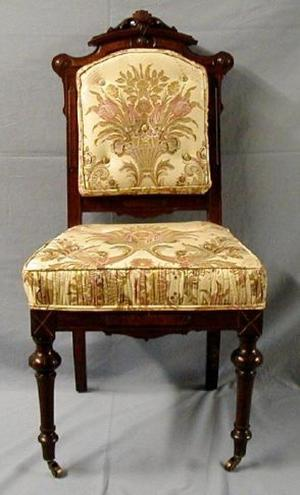 [Silk cream-colored parlor chair]