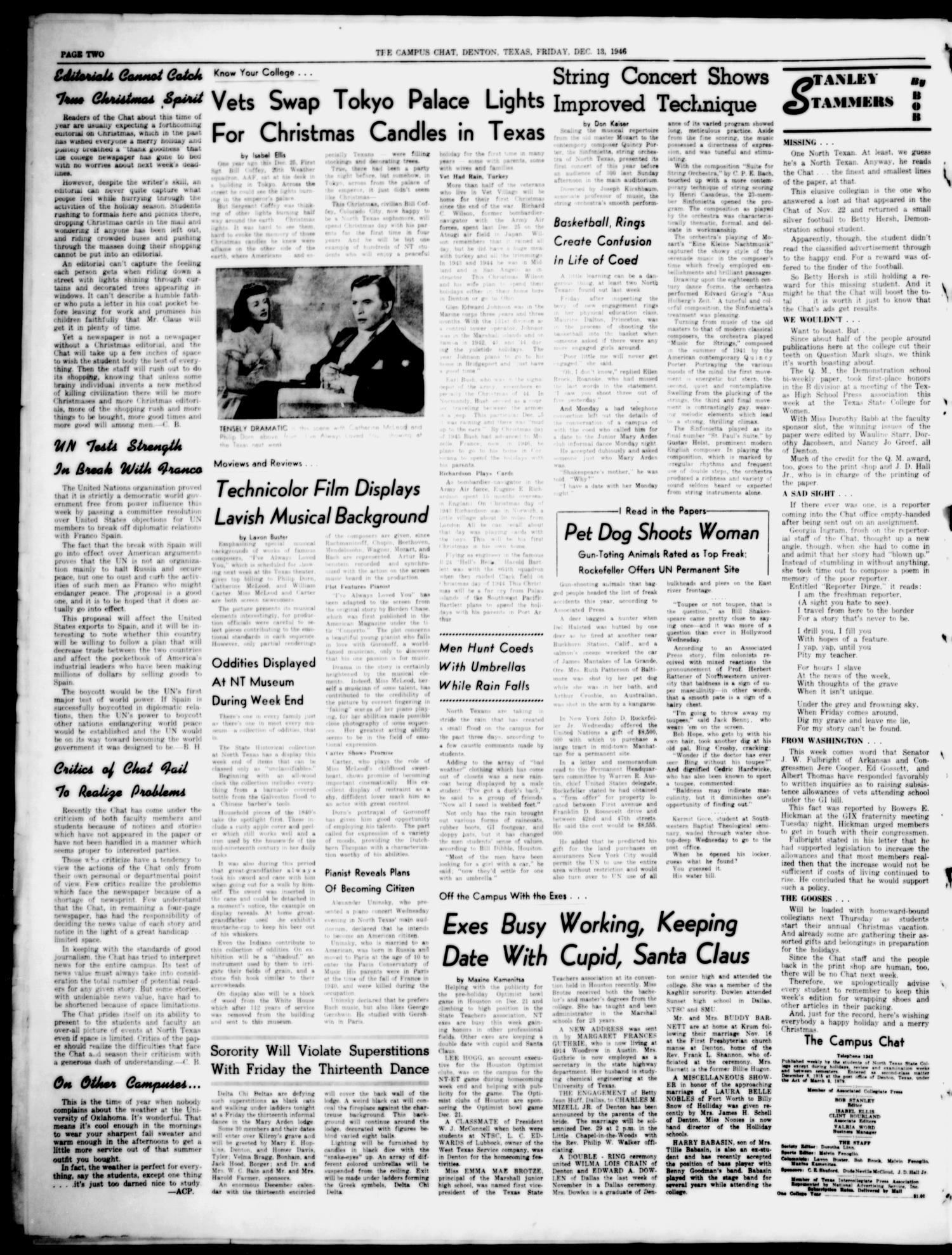 The Campus Chat (Denton, Tex.), Vol. 30, No. 12, Ed. 1 Friday, December 13, 1946                                                                                                      [Sequence #]: 2 of 4