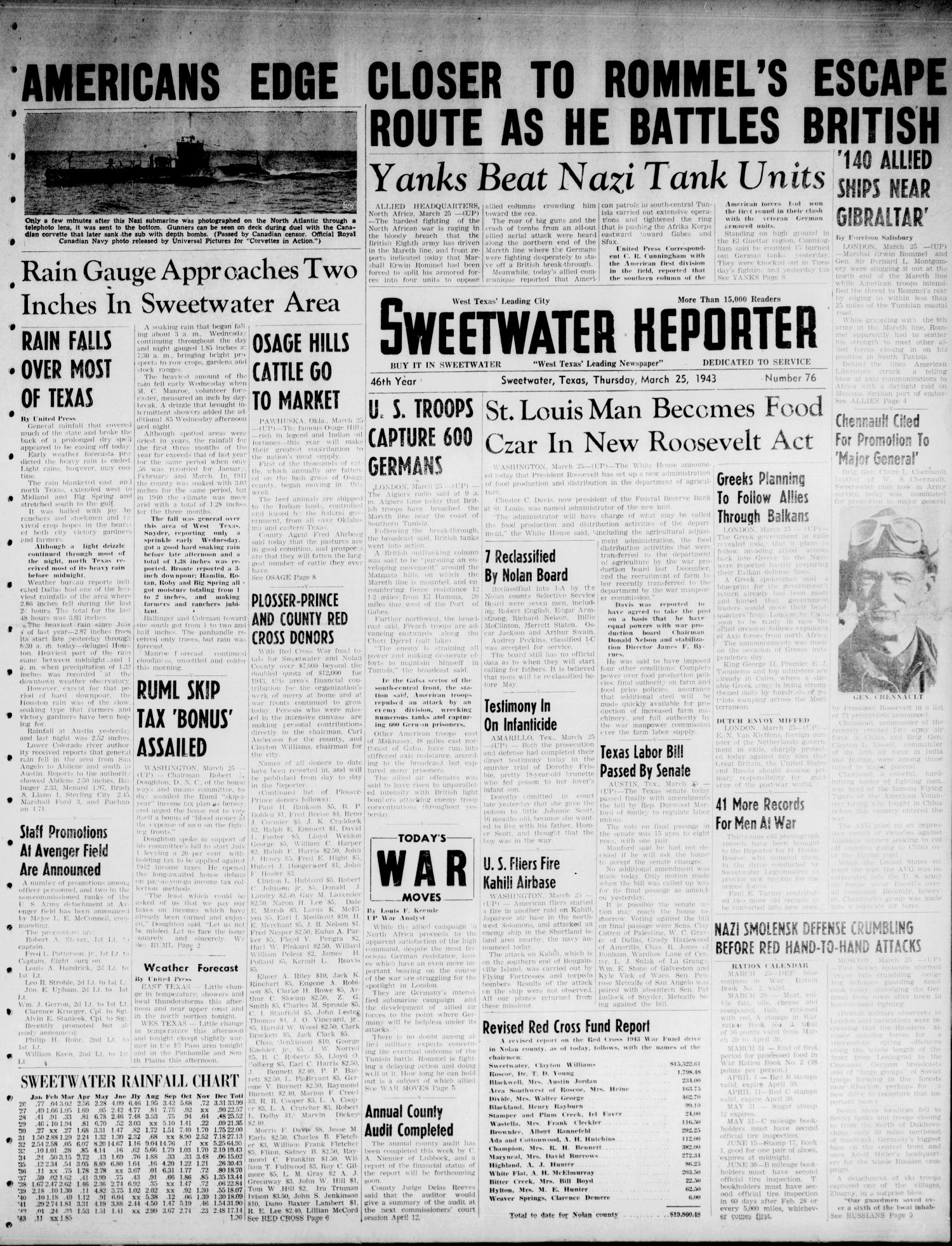 Sweetwater Reporter (Sweetwater, Tex.), Vol. 46, No. 76, Ed. 1 Thursday, March 25, 1943                                                                                                      [Sequence #]: 1 of 8