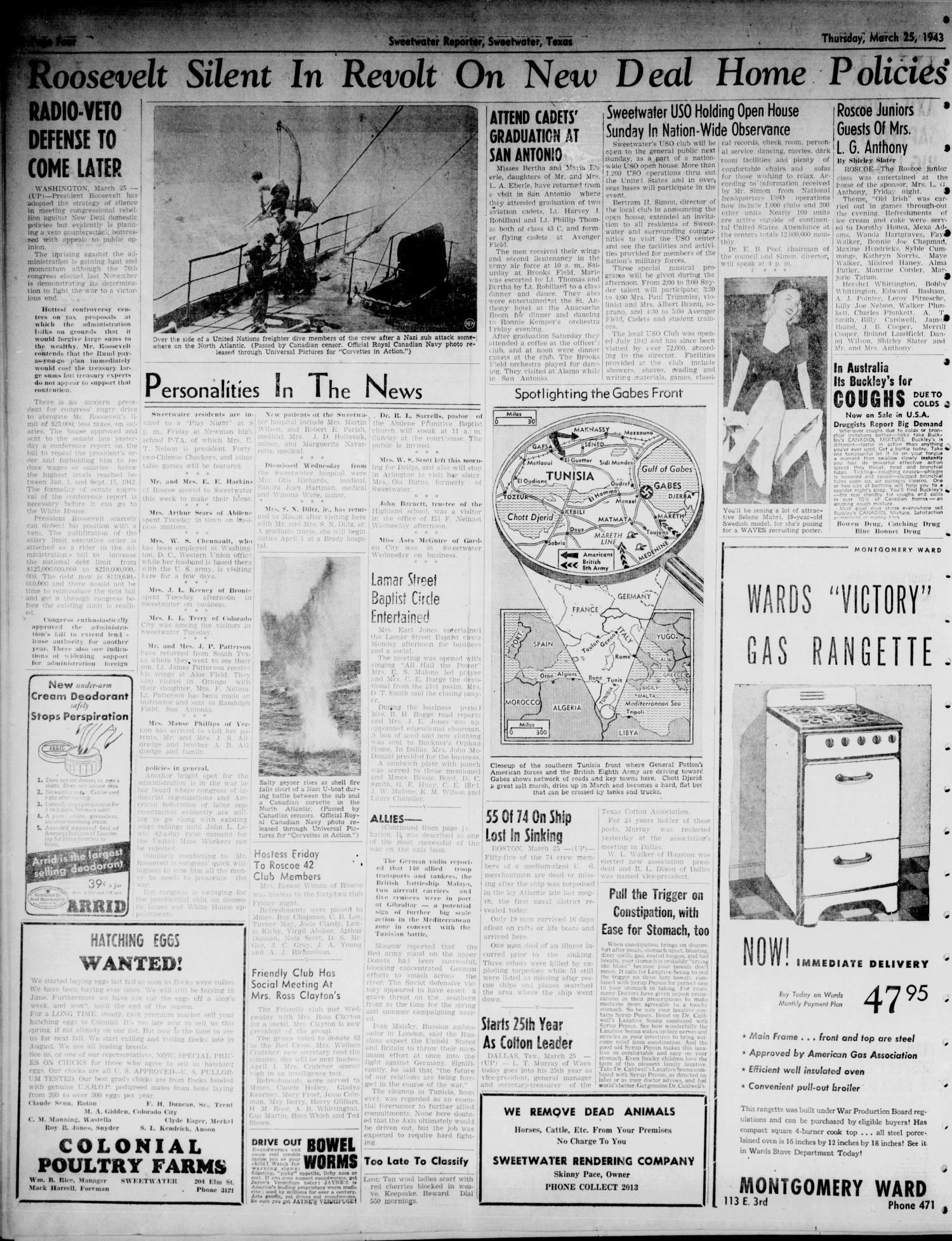 Sweetwater Reporter (Sweetwater, Tex.), Vol. 46, No. 76, Ed. 1 Thursday, March 25, 1943                                                                                                      [Sequence #]: 4 of 8