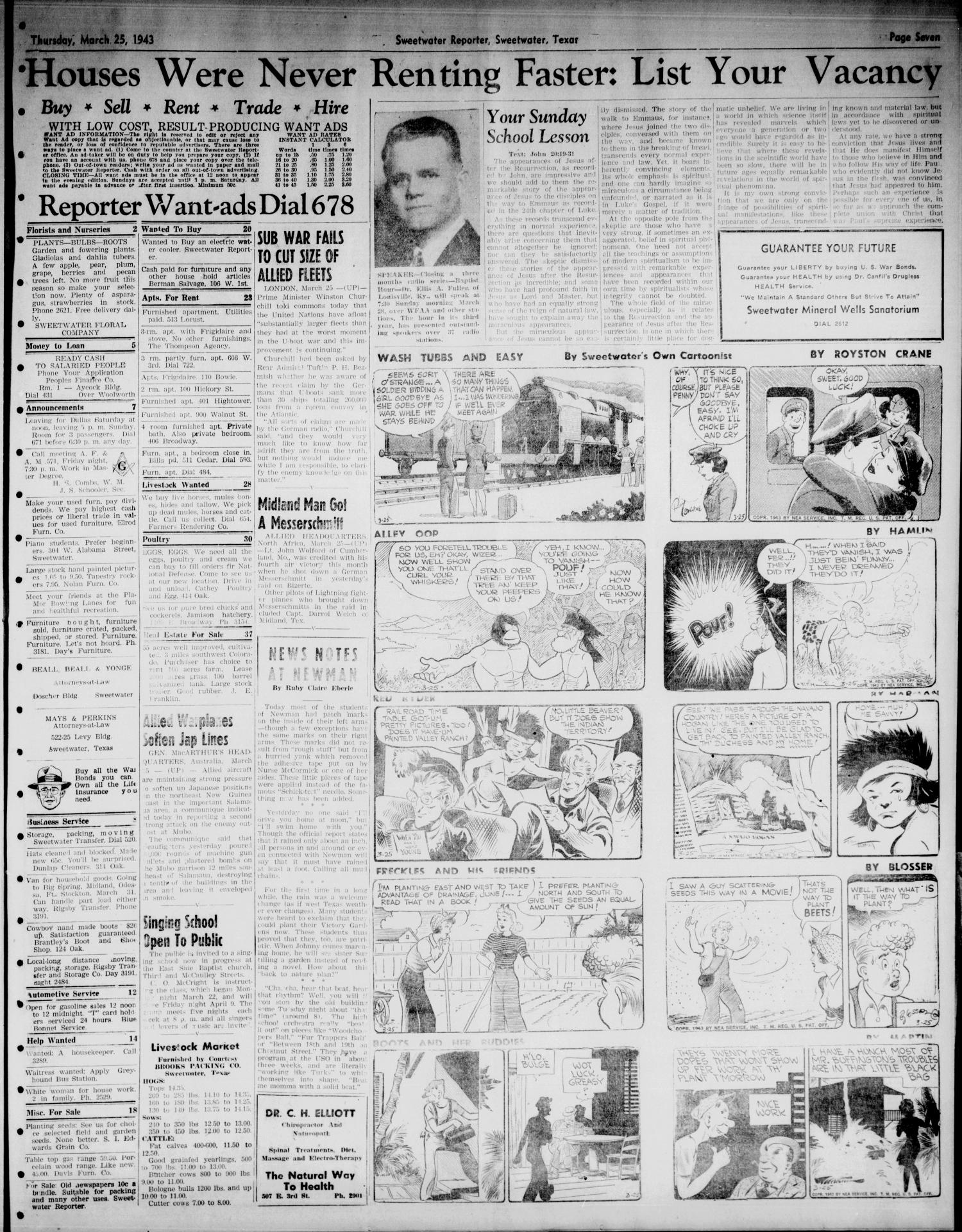 Sweetwater Reporter (Sweetwater, Tex.), Vol. 46, No. 76, Ed. 1 Thursday, March 25, 1943                                                                                                      [Sequence #]: 7 of 8