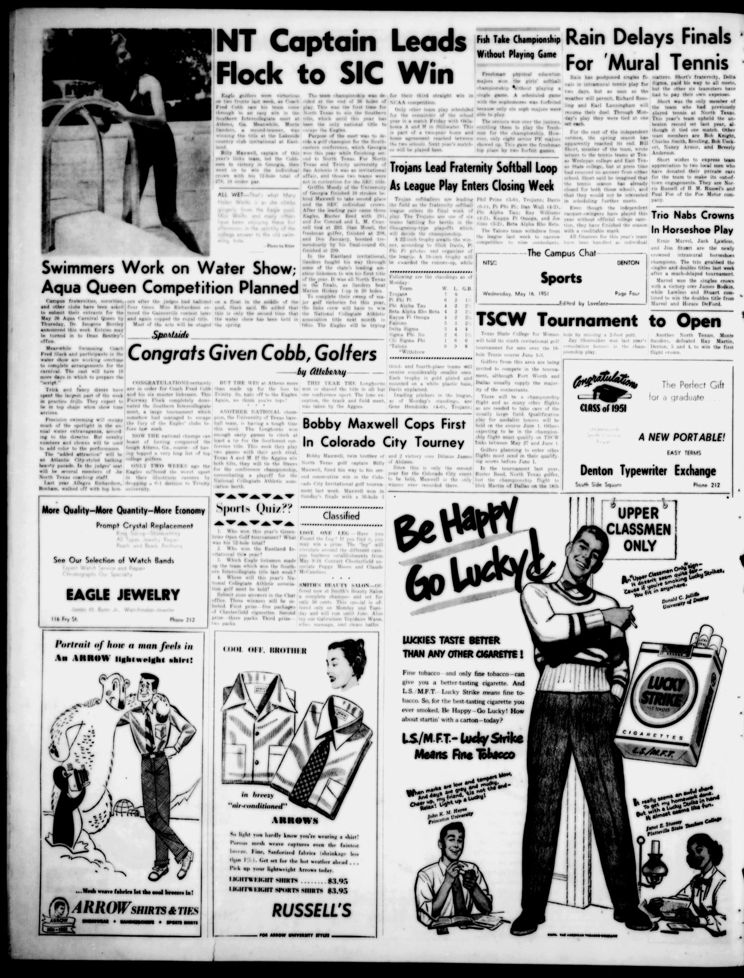 The Campus Chat (Denton, Tex.), Vol. 34, No. 52, Ed. 1 Wednesday, May 16, 1951                                                                                                      [Sequence #]: 4 of 4
