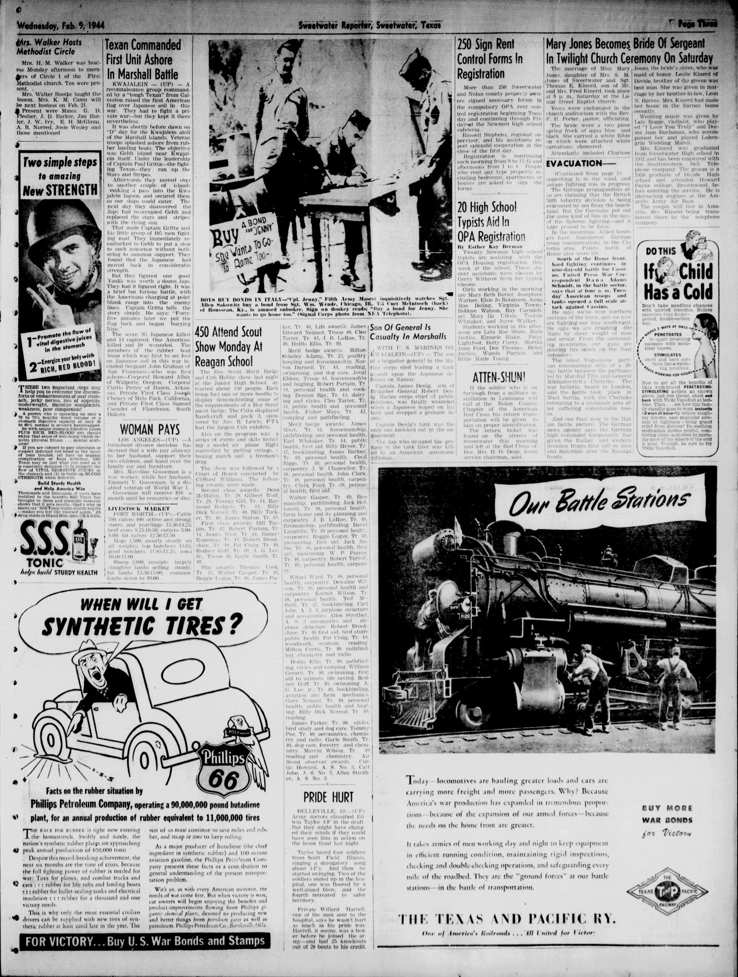 Sweetwater Reporter (Sweetwater, Tex.), Vol. 47, No. 34, Ed. 1 Wednesday, February 9, 1944                                                                                                      [Sequence #]: 3 of 6