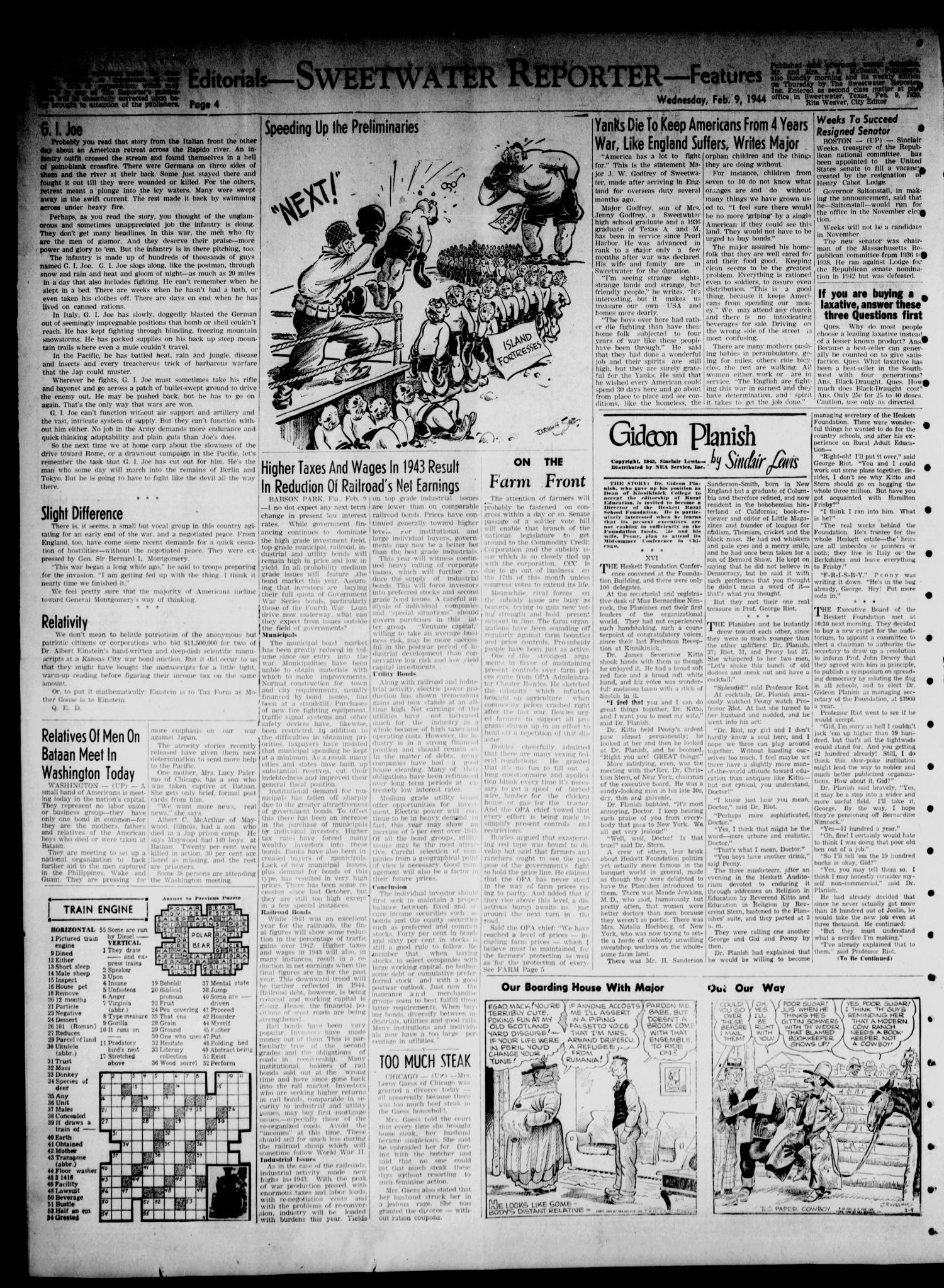 Sweetwater Reporter (Sweetwater, Tex.), Vol. 47, No. 34, Ed. 1 Wednesday, February 9, 1944                                                                                                      [Sequence #]: 4 of 6