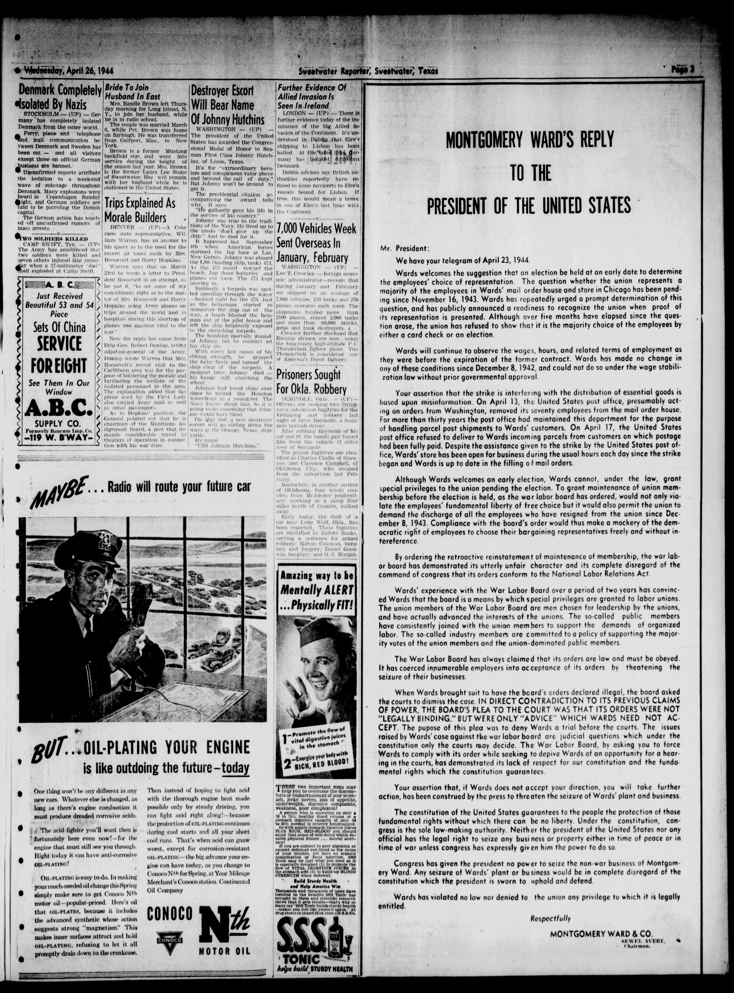 Sweetwater Reporter (Sweetwater, Tex.), Vol. 47, No. 99, Ed. 1 Wednesday, April 26, 1944                                                                                                      [Sequence #]: 3 of 6