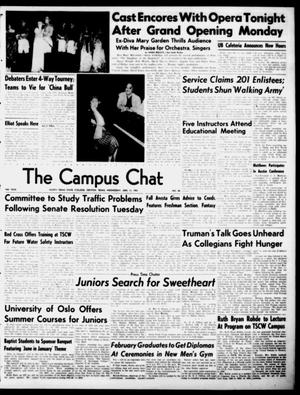 Primary view of object titled 'The Campus Chat (Denton, Tex.), Vol. 34, No. 24, Ed. 1 Wednesday, January 10, 1951'.
