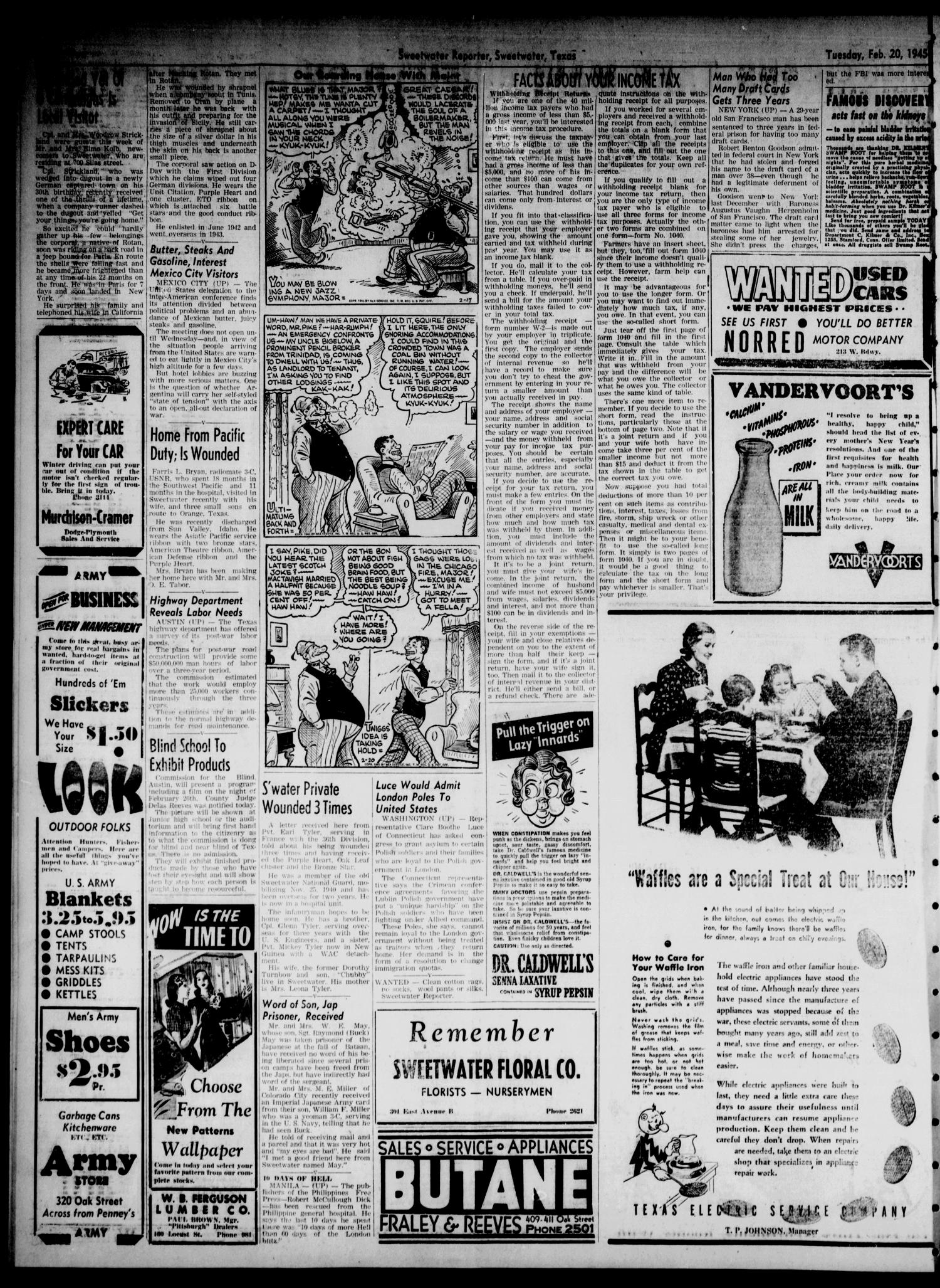 Sweetwater Reporter Tex Vol 48 No 44 Ed 1 Herbal Ar Rijal Black Tuesday February 20 1945 Page 2 Of 6 The Portal To Texas History