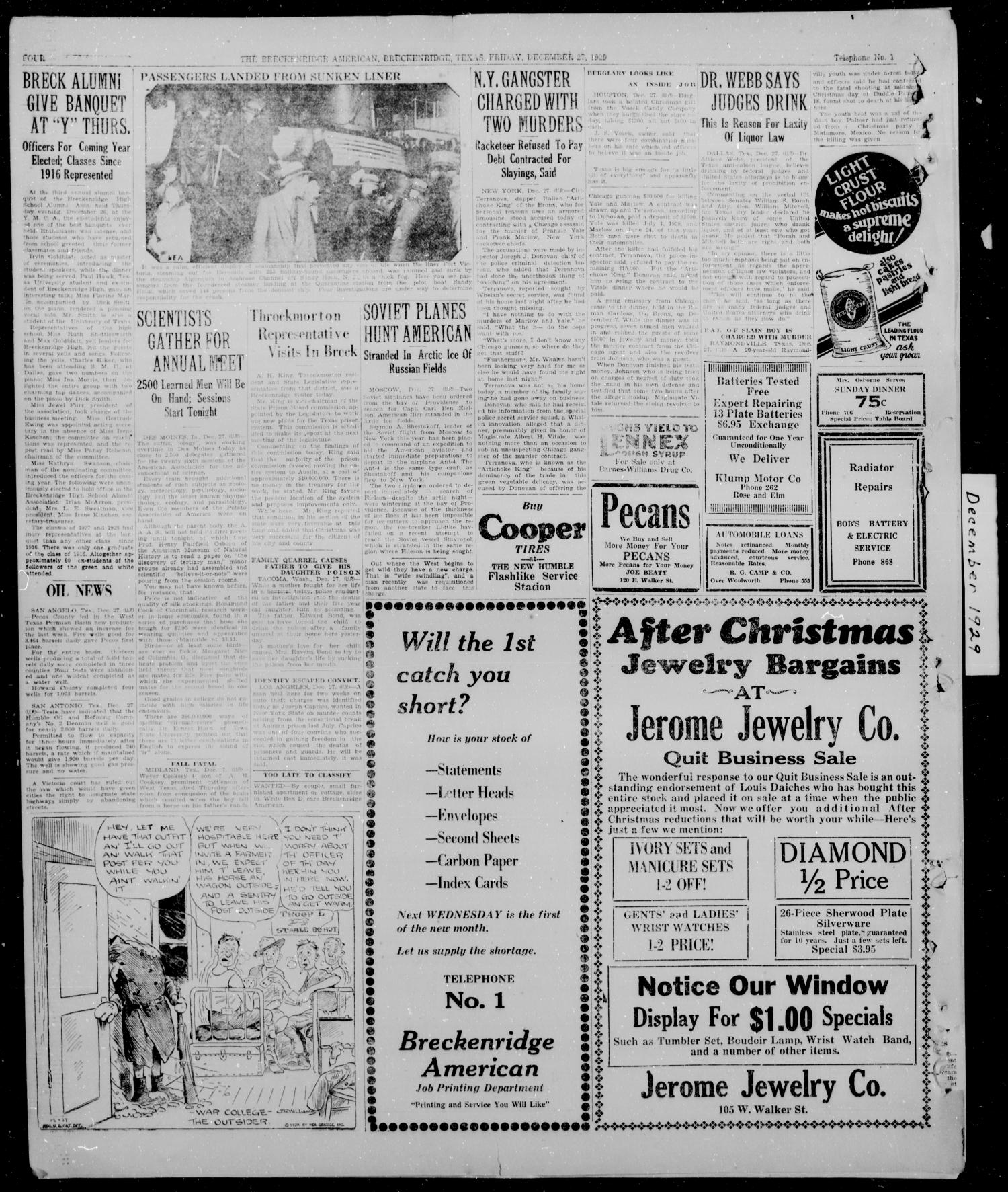 The Breckenridge American (Breckenridge, Tex.), Vol. 10, No. 25, Ed. 1, Friday, December 27, 1929                                                                                                      [Sequence #]: 4 of 4