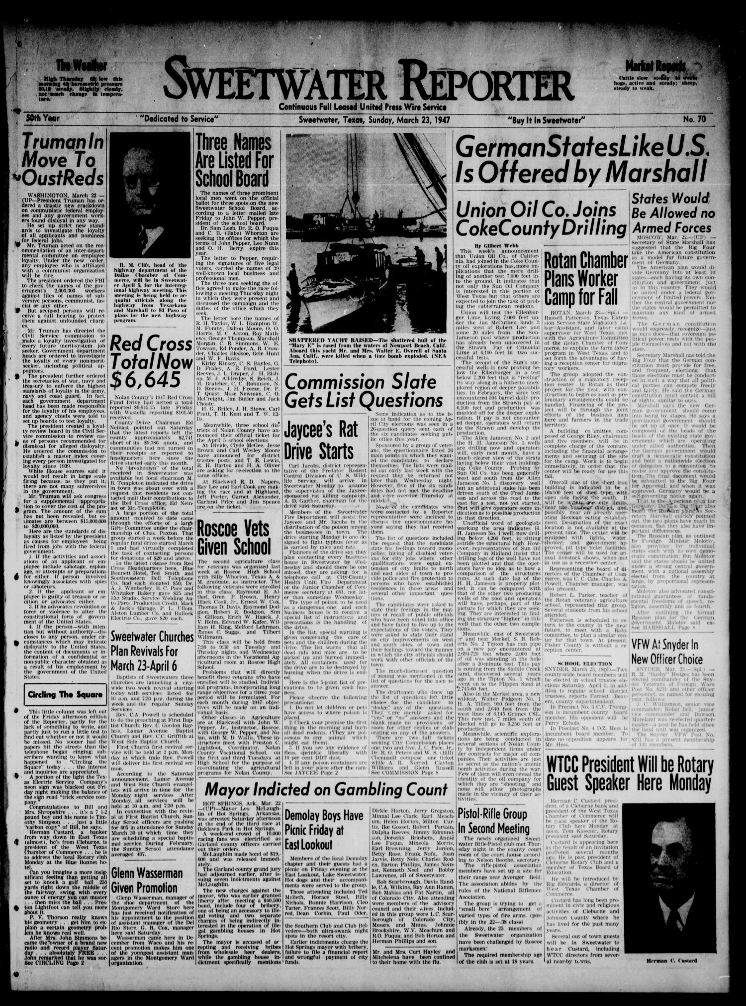 Sweetwater Reporter (Sweetwater, Tex.), Vol. 50, No. 70, Ed. 1 Sunday, March 23, 1947                                                                                                      [Sequence #]: 1 of 22