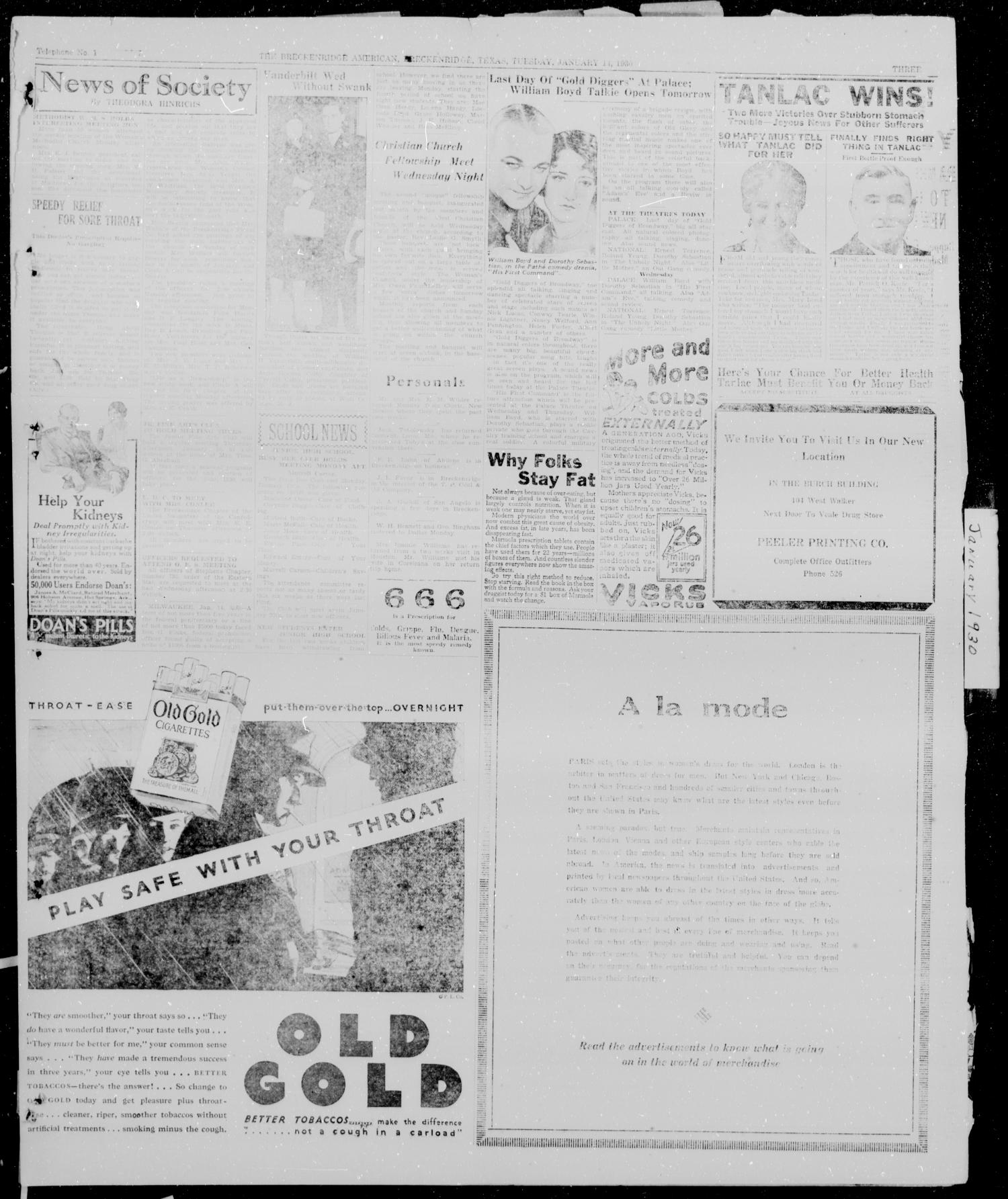 The Breckenridge American (Breckenridge, Tex.), Vol. 10, No. 38, Ed. 1, Tuesday, January 14, 1930                                                                                                      [Sequence #]: 3 of 6