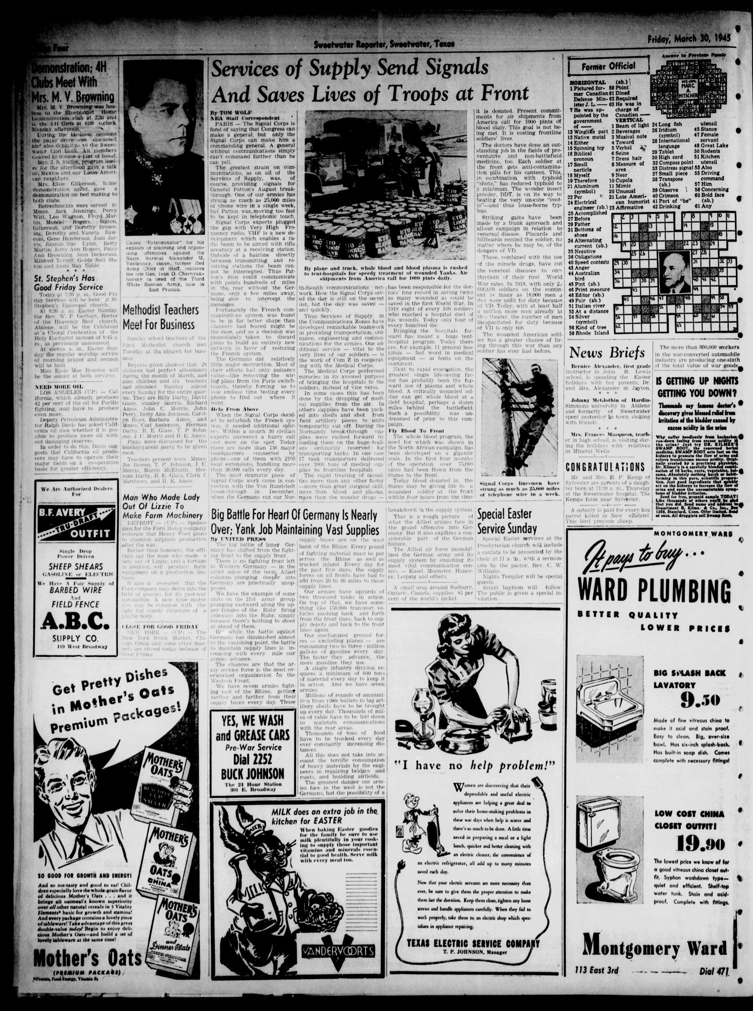 Sweetwater Reporter (Sweetwater, Tex.), Vol. 48, No. 77, Ed. 1 Friday, March 30, 1945                                                                                                      [Sequence #]: 4 of 8