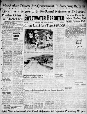 Primary view of object titled 'Sweetwater Reporter (Sweetwater, Tex.), Vol. 48, No. 234, Ed. 1 Thursday, October 4, 1945'.