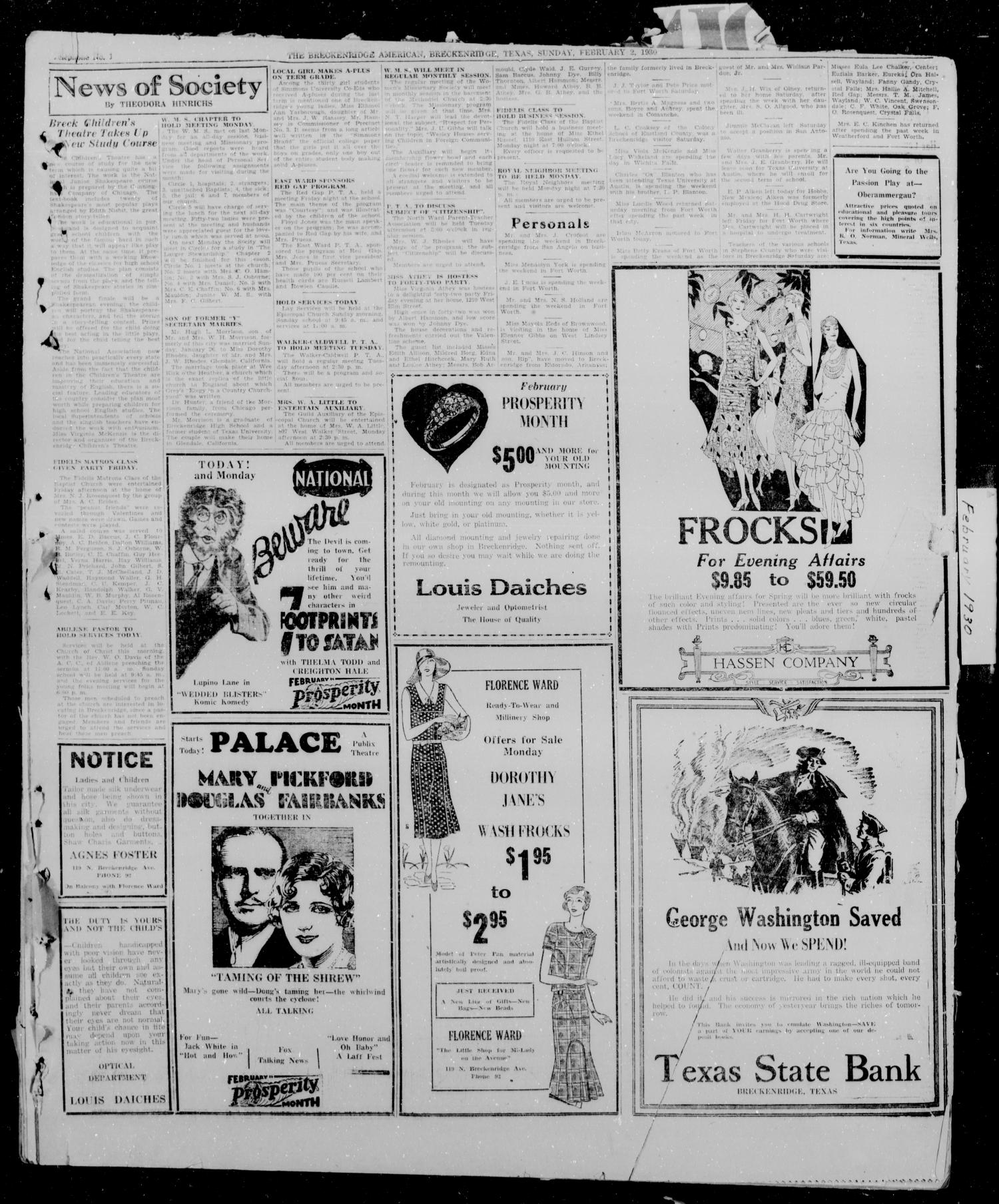 The Breckenridge American (Breckenridge, Tex.), Vol. 10, No. 54, Ed. 1, Sunday, February 2, 1930                                                                                                      [Sequence #]: 4 of 11