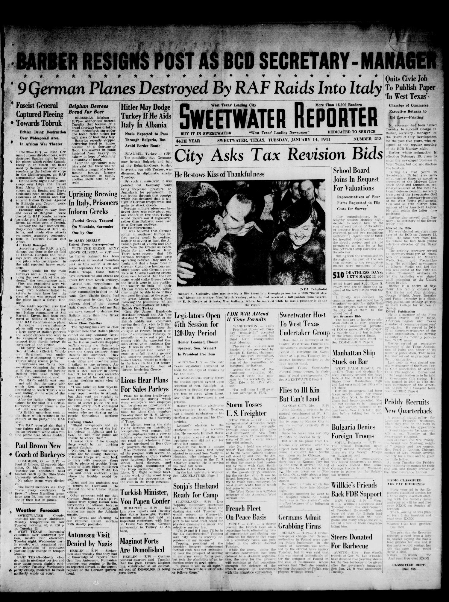 Sweetwater Reporter (Sweetwater, Tex.), Vol. 44, No. 213, Ed. 1 Tuesday, January 14, 1941                                                                                                      [Sequence #]: 1 of 6