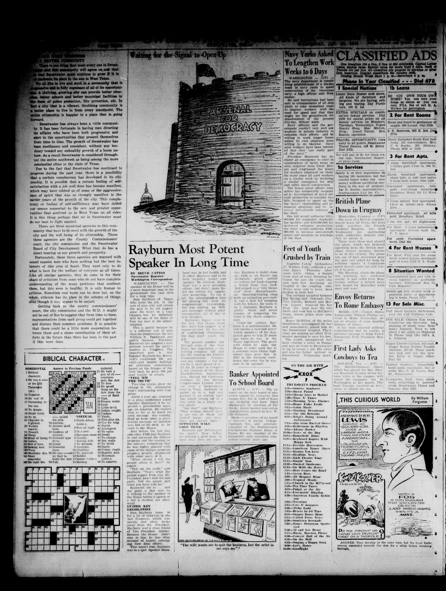Sweetwater Reporter (Sweetwater, Tex.), Vol. 44, No. 214, Ed. 1 Wednesday, January 15, 1941                                                                                                      [Sequence #]: 4 of 6