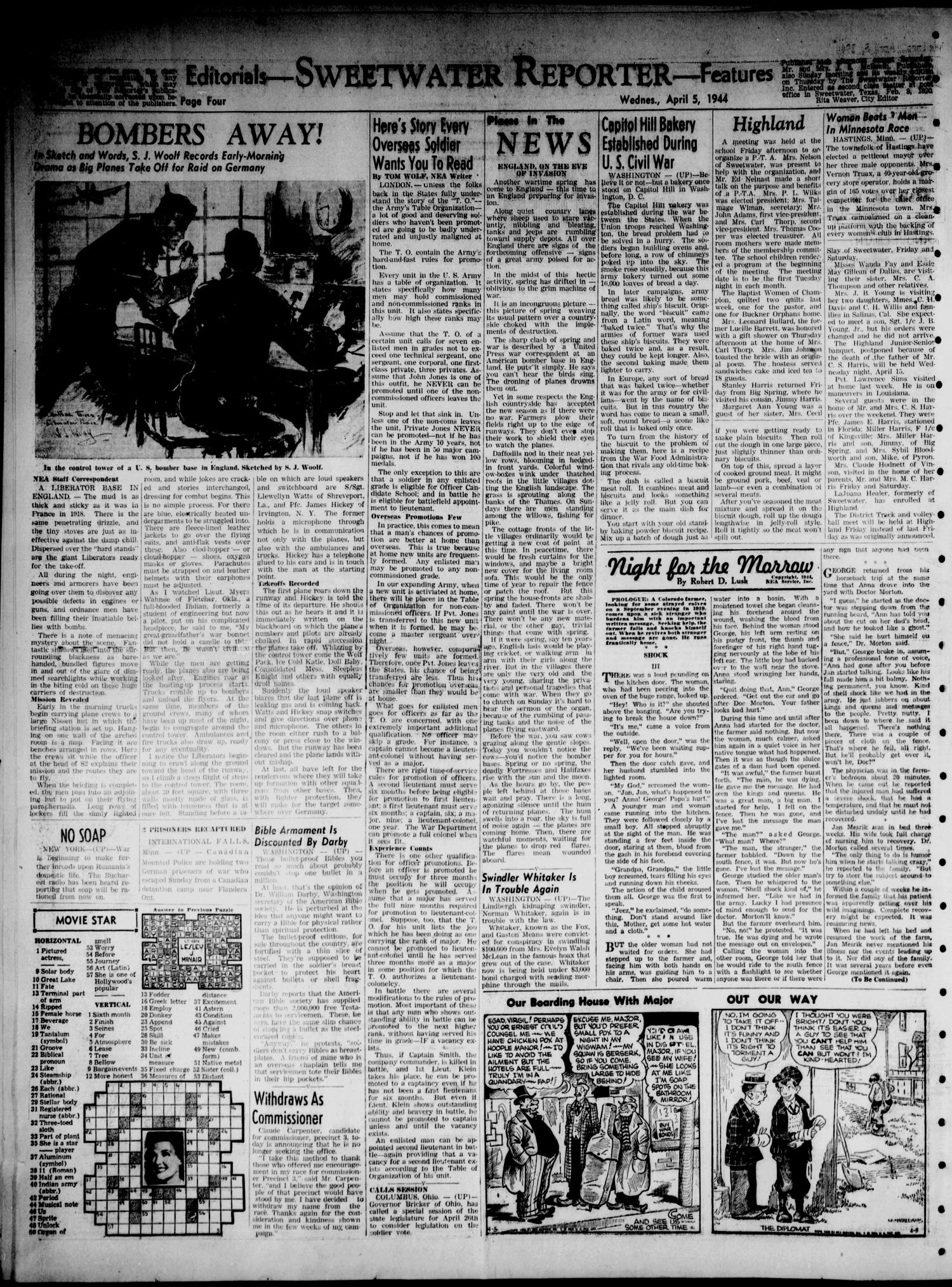 Sweetwater Reporter (Sweetwater, Tex.), Vol. 47, No. 81, Ed. 1 Wednesday, April 5, 1944                                                                                                      [Sequence #]: 4 of 6