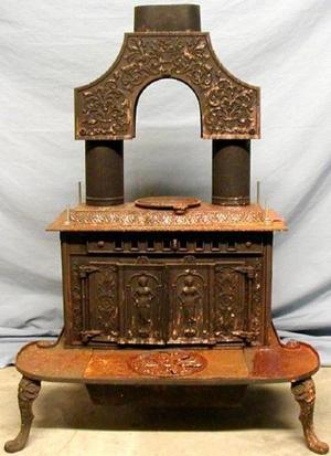 [Victorian cast-iron parlor stove]