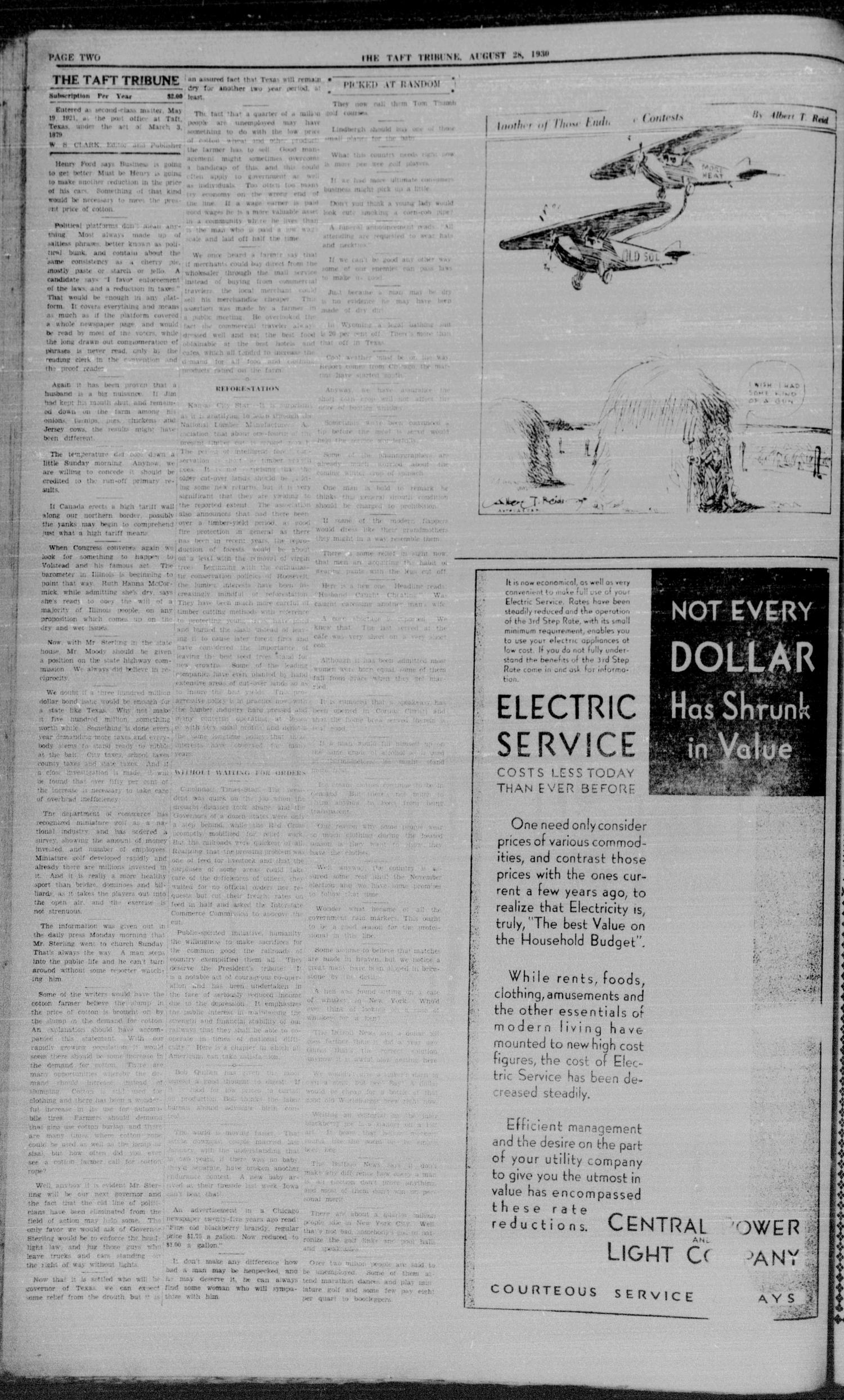 The Taft Tribune (Taft, Tex.), Vol. 10, No. 17, Ed. 1 Thursday, August 28, 1930                                                                                                      [Sequence #]: 2 of 8