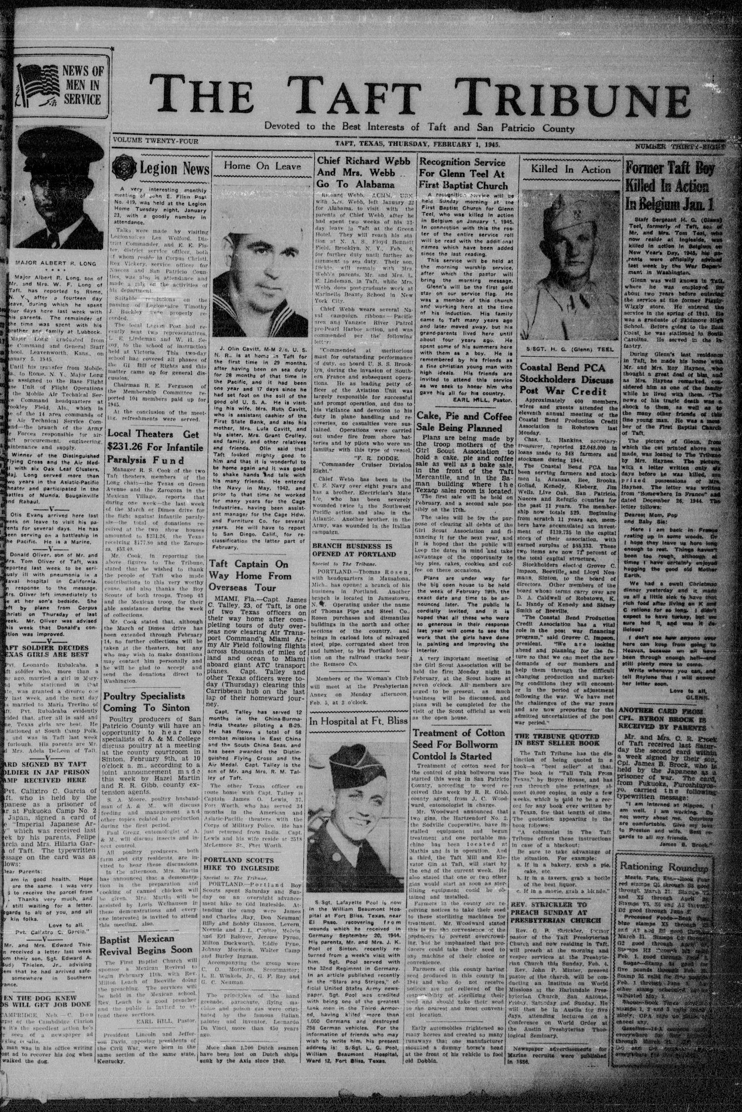 The Taft Tribune (Taft, Tex.), Vol. 24, No. 38, Ed. 1 Thursday, February 1, 1945                                                                                                      [Sequence #]: 1 of 8