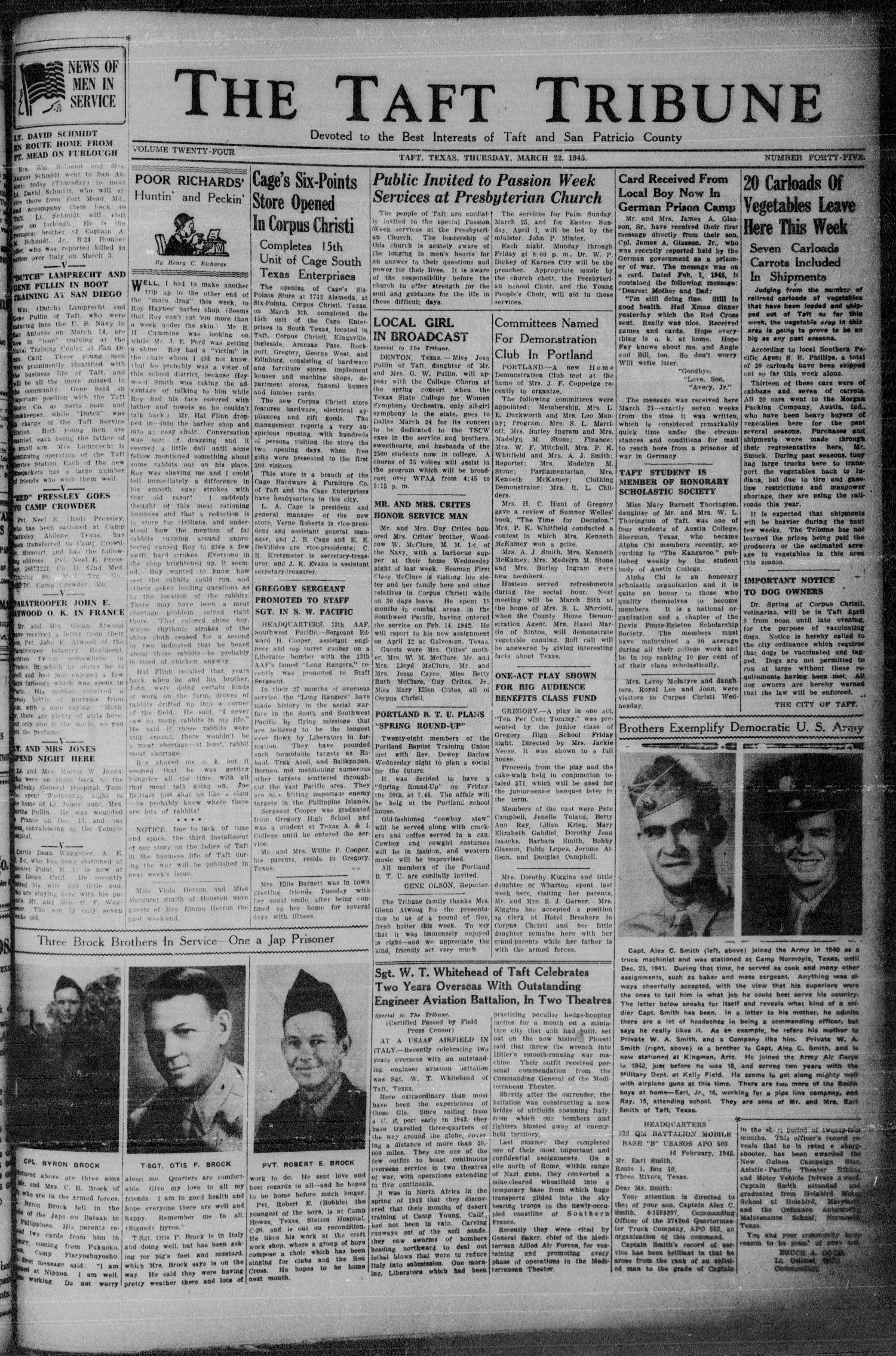 The Taft Tribune (Taft, Tex.), Vol. 24, No. 45, Ed. 1 Thursday, March 22, 1945                                                                                                      [Sequence #]: 1 of 10