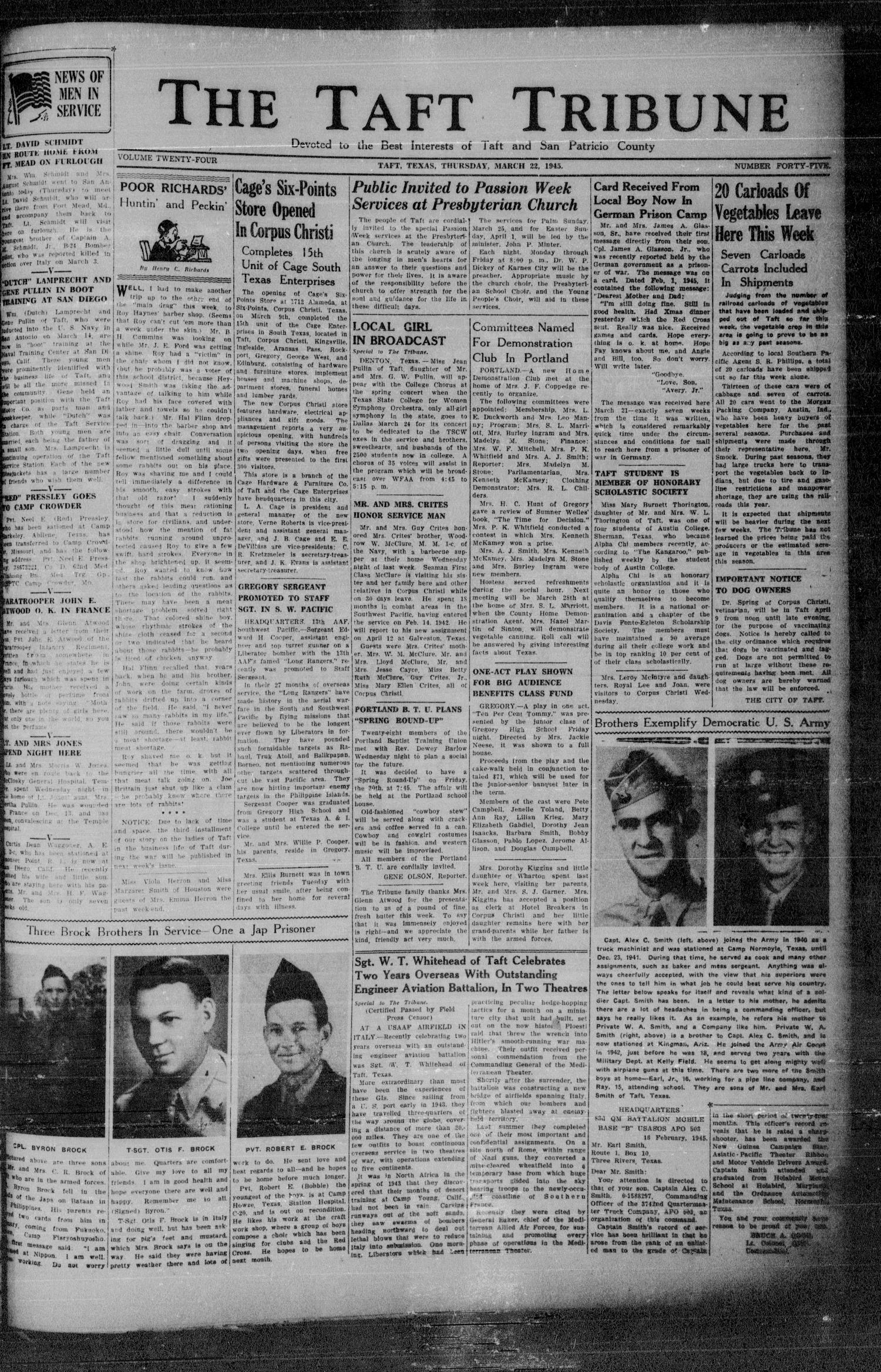 The Taft Tribune (Taft, Tex.), Vol. 24, No. 45, Ed. 1 Thursday, March 22, 1945                                                                                                      [Sequence #]: 3 of 10