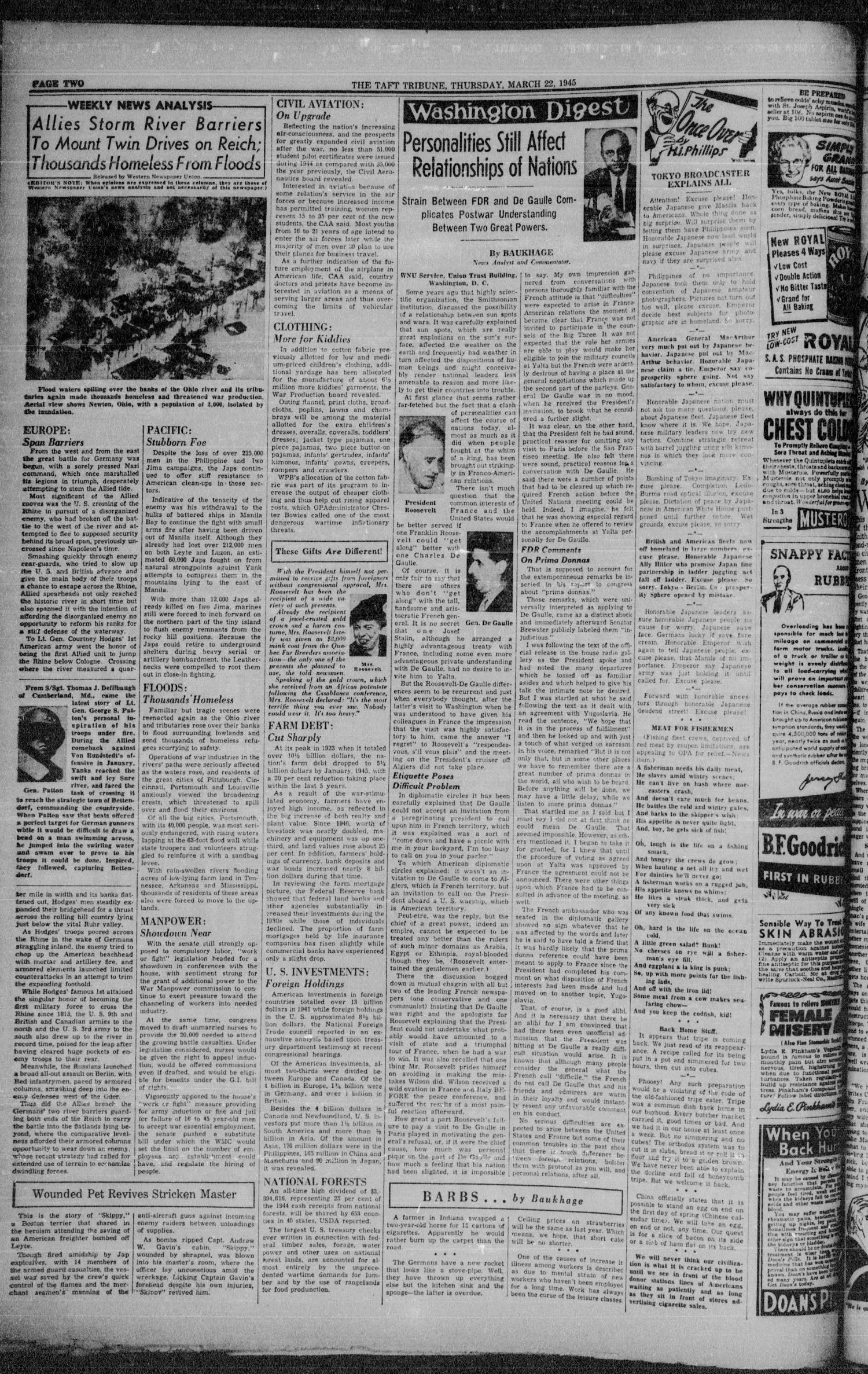 The Taft Tribune (Taft, Tex.), Vol. 24, No. 45, Ed. 1 Thursday, March 22, 1945                                                                                                      [Sequence #]: 4 of 10