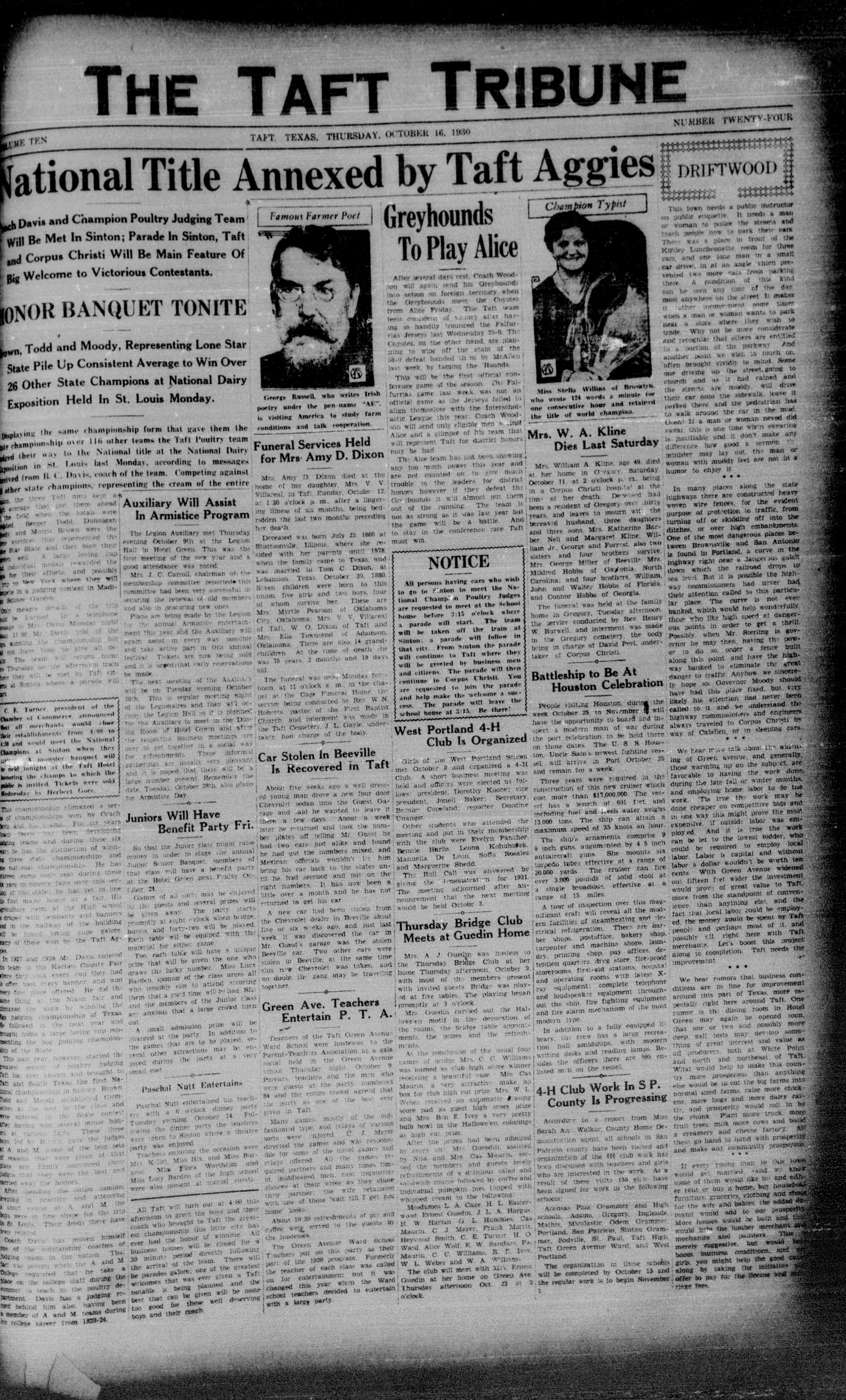 The Taft Tribune (Taft, Tex.), Vol. 10, No. 24, Ed. 1 Thursday, October 16, 1930                                                                                                      [Sequence #]: 1 of 6