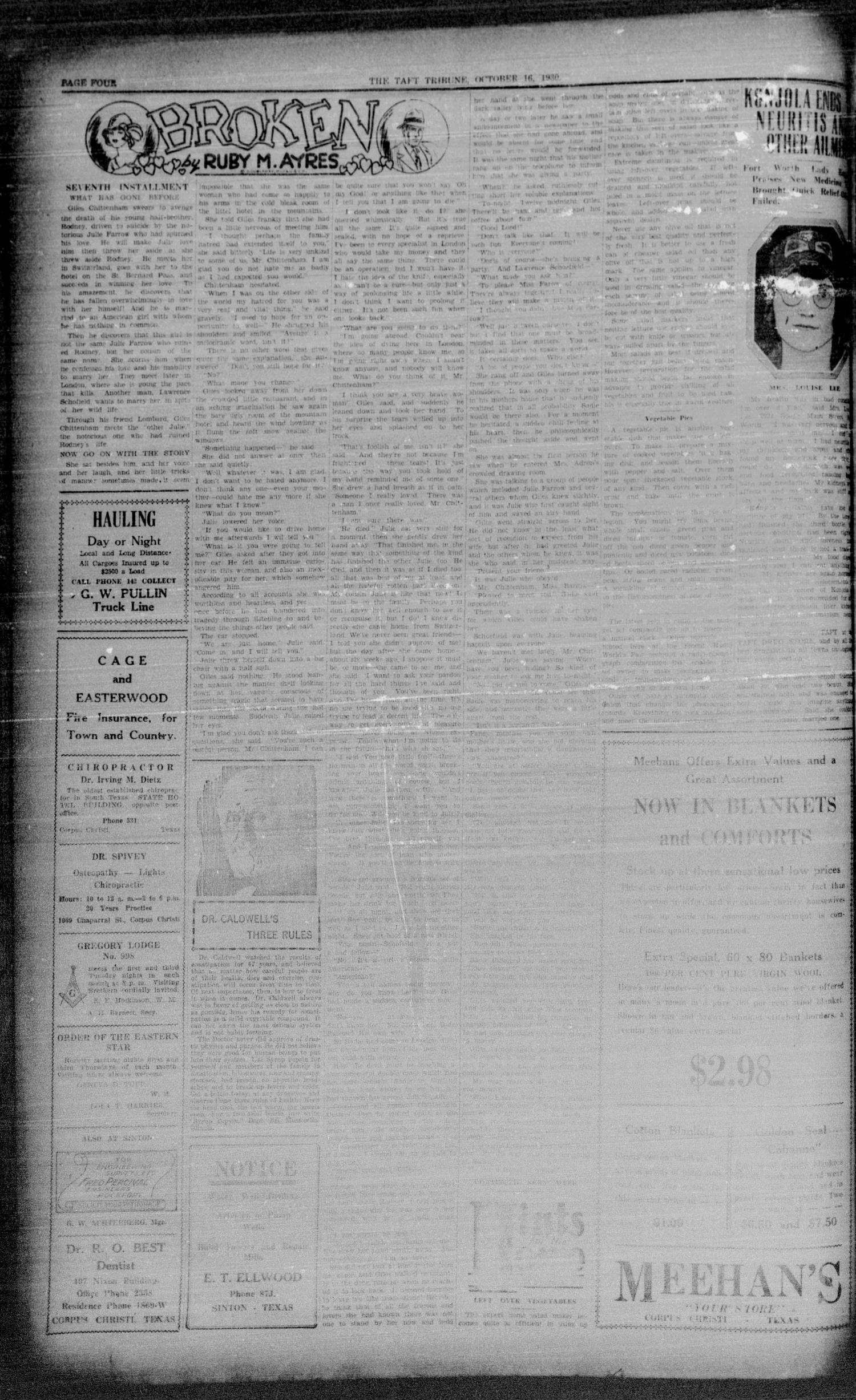 The Taft Tribune (Taft, Tex.), Vol. 10, No. 24, Ed. 1 Thursday, October 16, 1930                                                                                                      [Sequence #]: 4 of 6