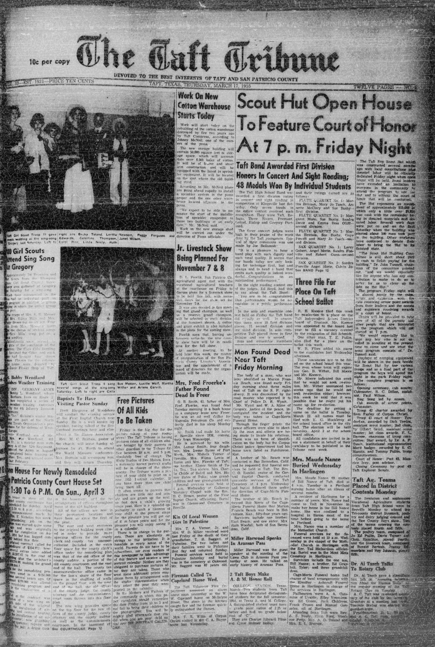The Taft Tribune (Taft, Tex.), Vol. 33, No. 2, Ed. 1 Thursday, March 17, 1955                                                                                                      [Sequence #]: 1 of 14