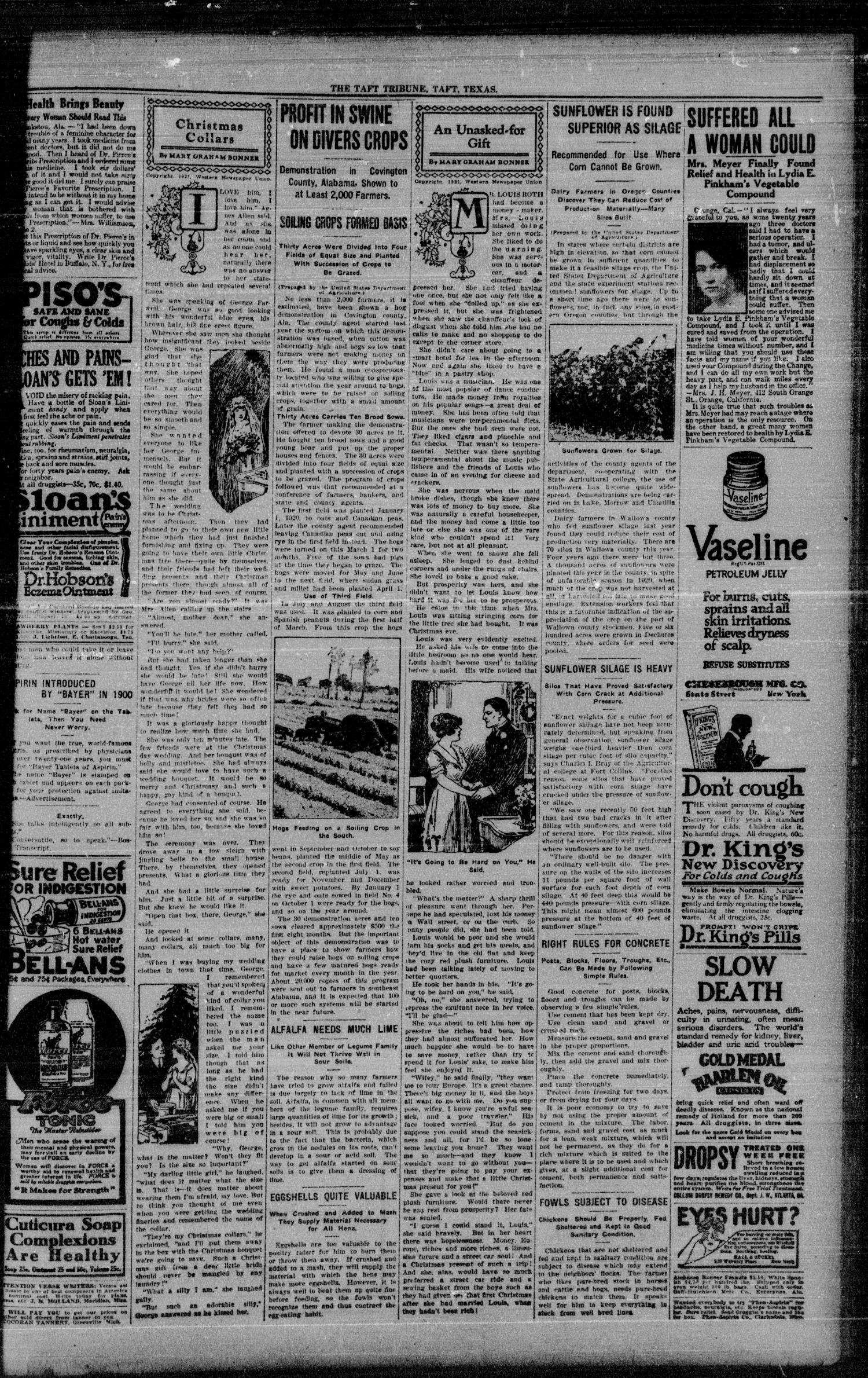 The Taft Tribune (Taft, Tex.), Vol. 1, No. 33, Ed. 1 Thursday, December 15, 1921                                                                                                      [Sequence #]: 3 of 8