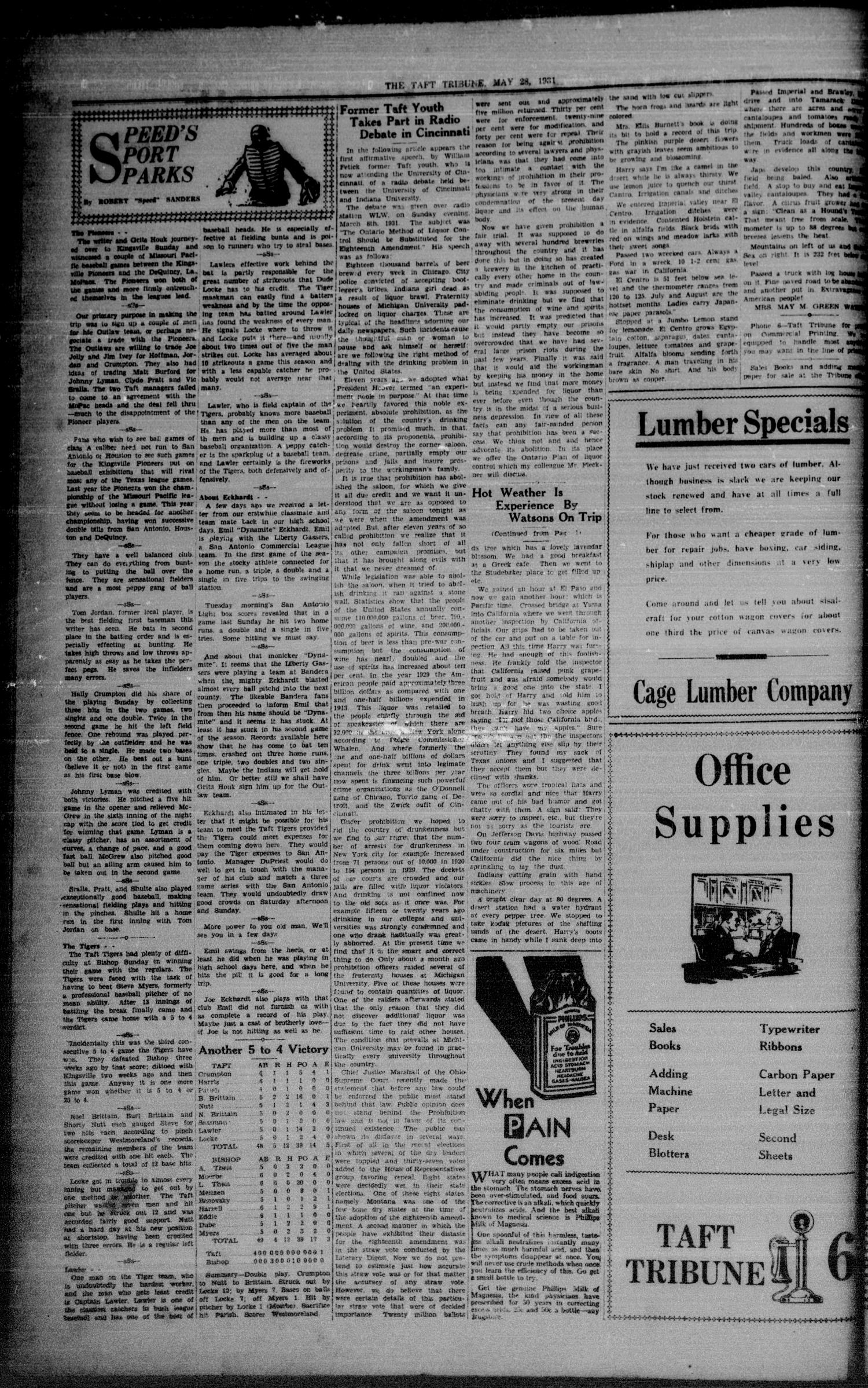 The Taft Tribune (Taft, Tex.), Vol. 11, No. 4, Ed. 1 Thursday, May 28, 1931                                                                                                      [Sequence #]: 2 of 8