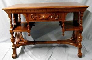 Eastlake library oak table, slightly crooked
