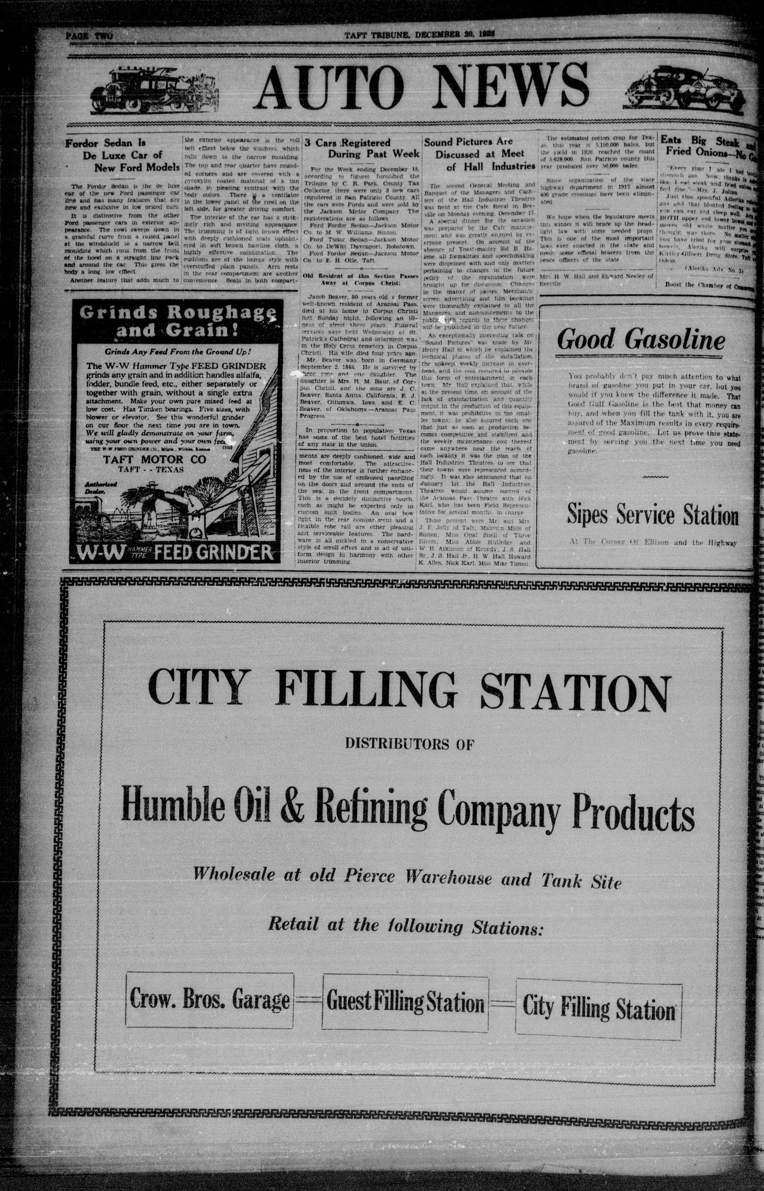 The Taft Tribune (Taft, Tex.), Vol. 8, No. 34, Ed. 1 Thursday, December 20, 1928                                                                                                      [Sequence #]: 2 of 8