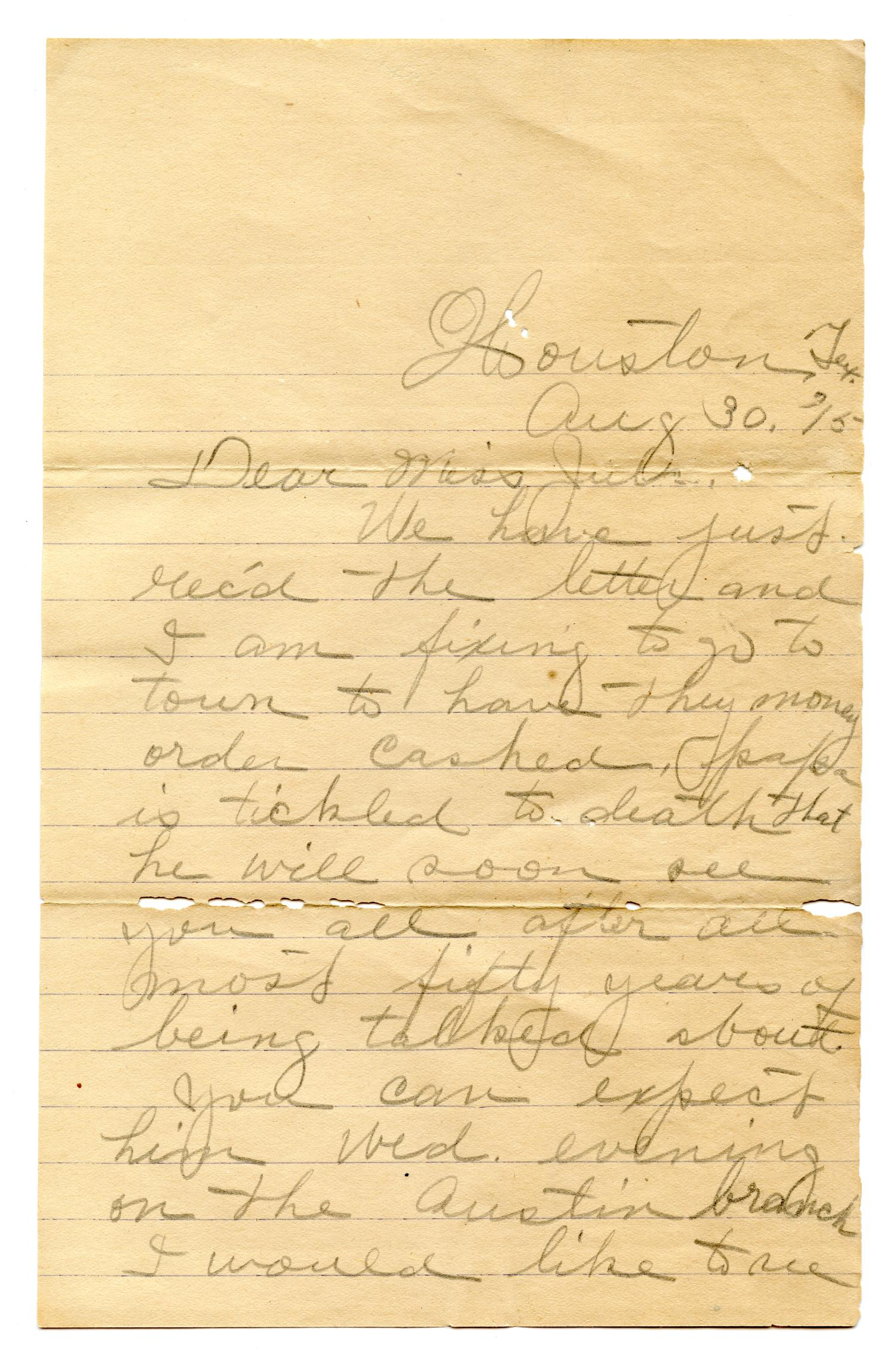 [Correspondence to Julia Maria Pease from S.L. Whitley]                                                                                                      [Sequence #]: 1 of 4