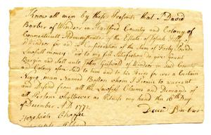 Primary view of object titled '[Agreement for sale of slave in Connecticut]'.