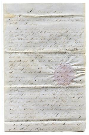 [Proclamation from Governor E.M. Pease regarding criminal fugitives from Louisiana]