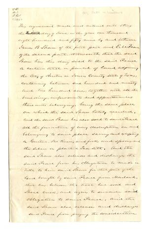 Primary view of object titled '[Deed for sale of Woodlawn]'.