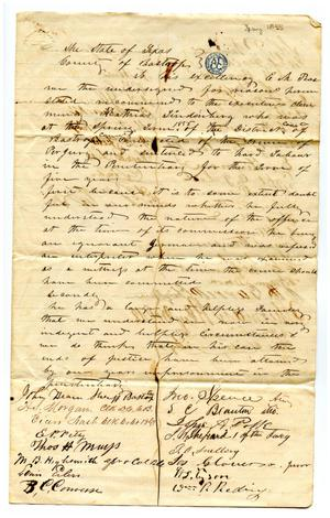 Primary view of object titled '[Correspondence/petition to Governor E.M. Pease]'.