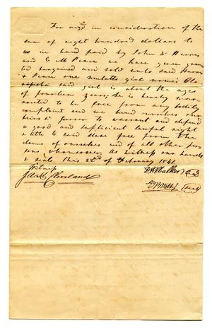 Primary view of object titled '[Deed for sale of slave to E.M. Pease and John W. Harris]'.