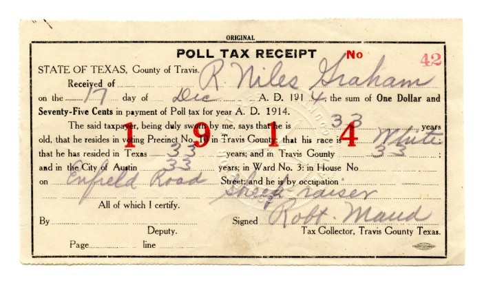 Poll-tax receipts and certificate of exemption from poll tax for ...