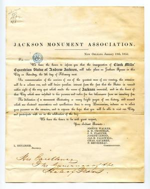 [Invitation to inauguration of Clark Mills's equestrian statue of Andrew Jackson]