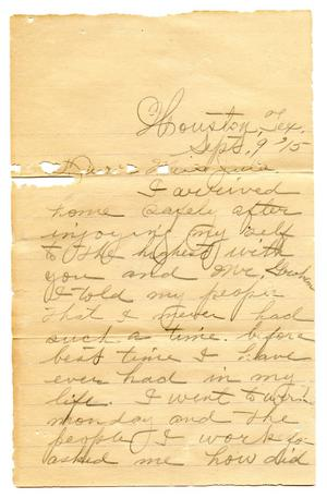 Primary view of object titled '[Correspondence to Julia Maria Pease from Dave Pease]'.